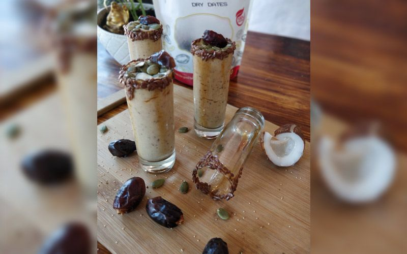 DATE, COCONUT, PUMPKINSEEDS AND KHUS SMOOTHIE SHOTS