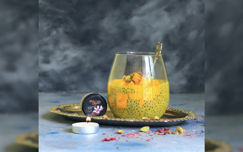 Saffron Fresh Fruit Pudding with Basil seeds
